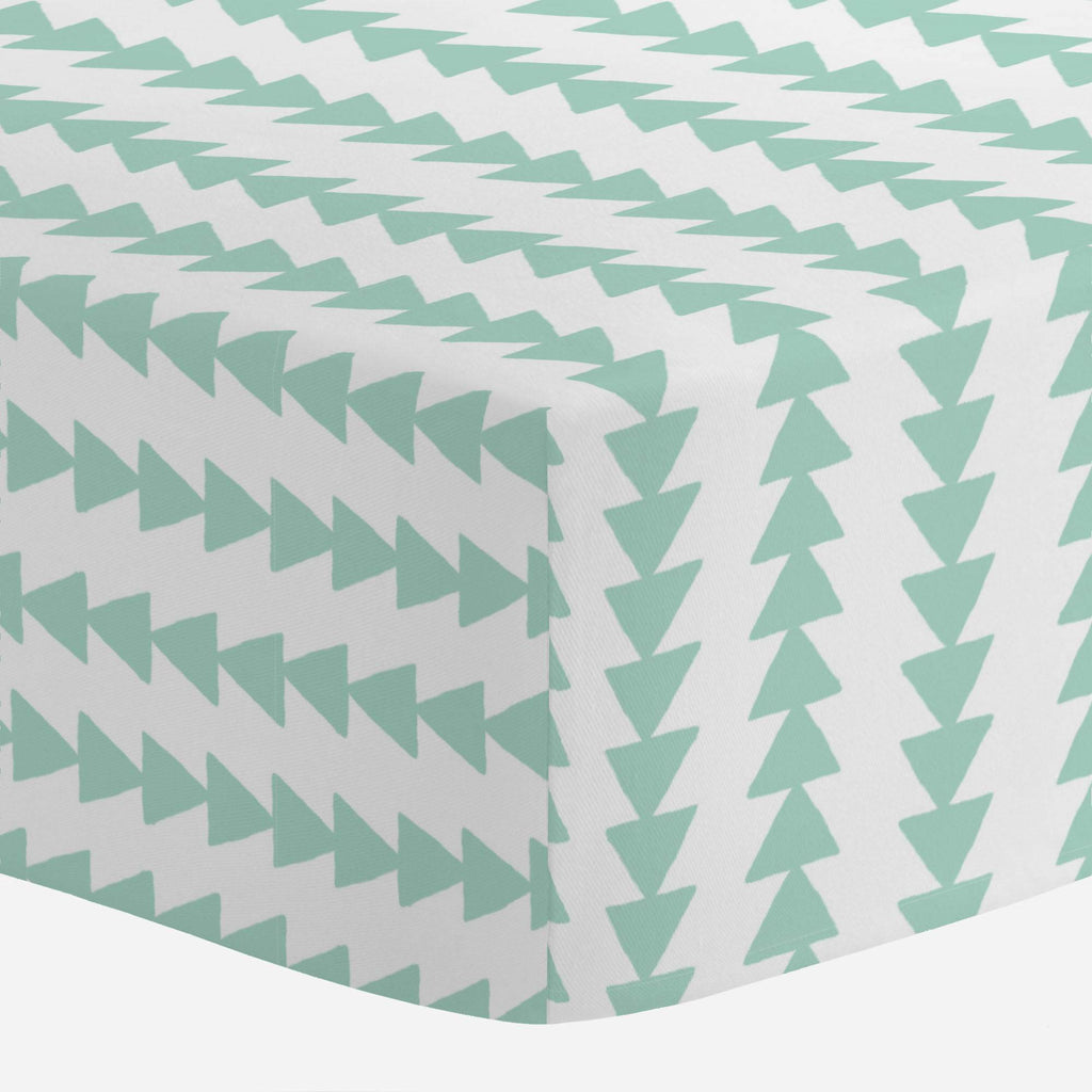 Product image for Mint Arrow Stripe Crib Sheet