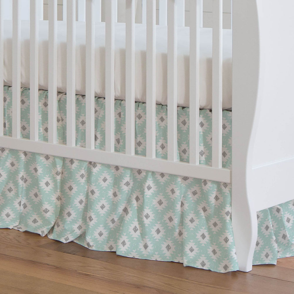 Product image for Icy Mint and Gray Aztec Crib Skirt Gathered