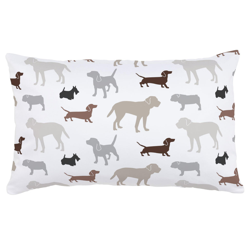 Product image for Brown and Gray Dogs Lumbar Pillow