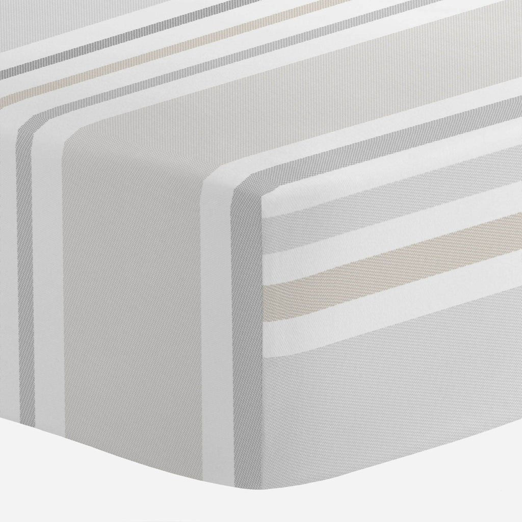 Product image for French Gray and Taupe Summer Stripe Crib Sheet