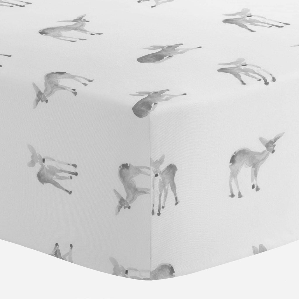 Product image for Silver Gray Fawns Crib Sheet