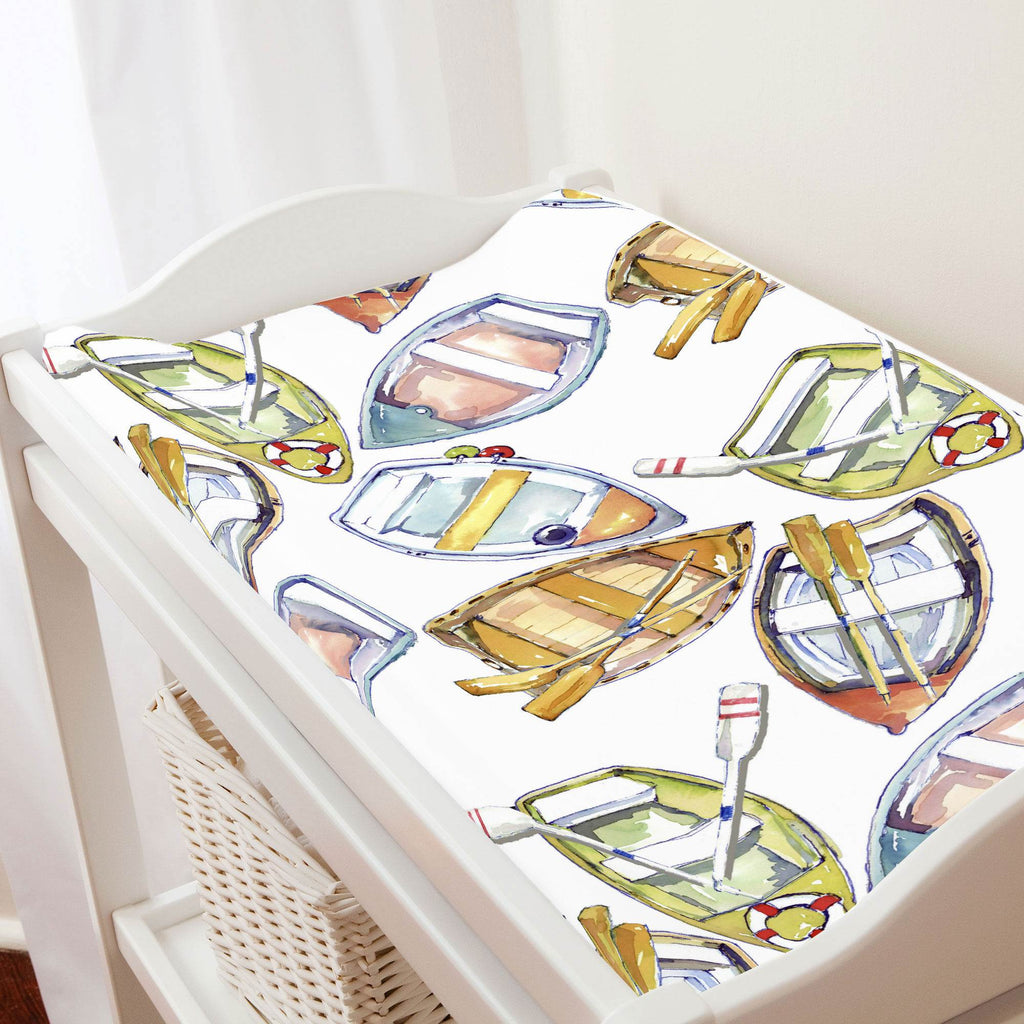 Product image for Watercolor Boats Changing Pad Cover