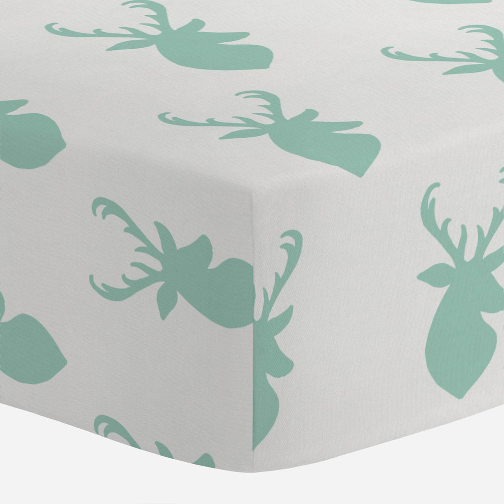 Product image for Mint Deer Head Crib Sheet
