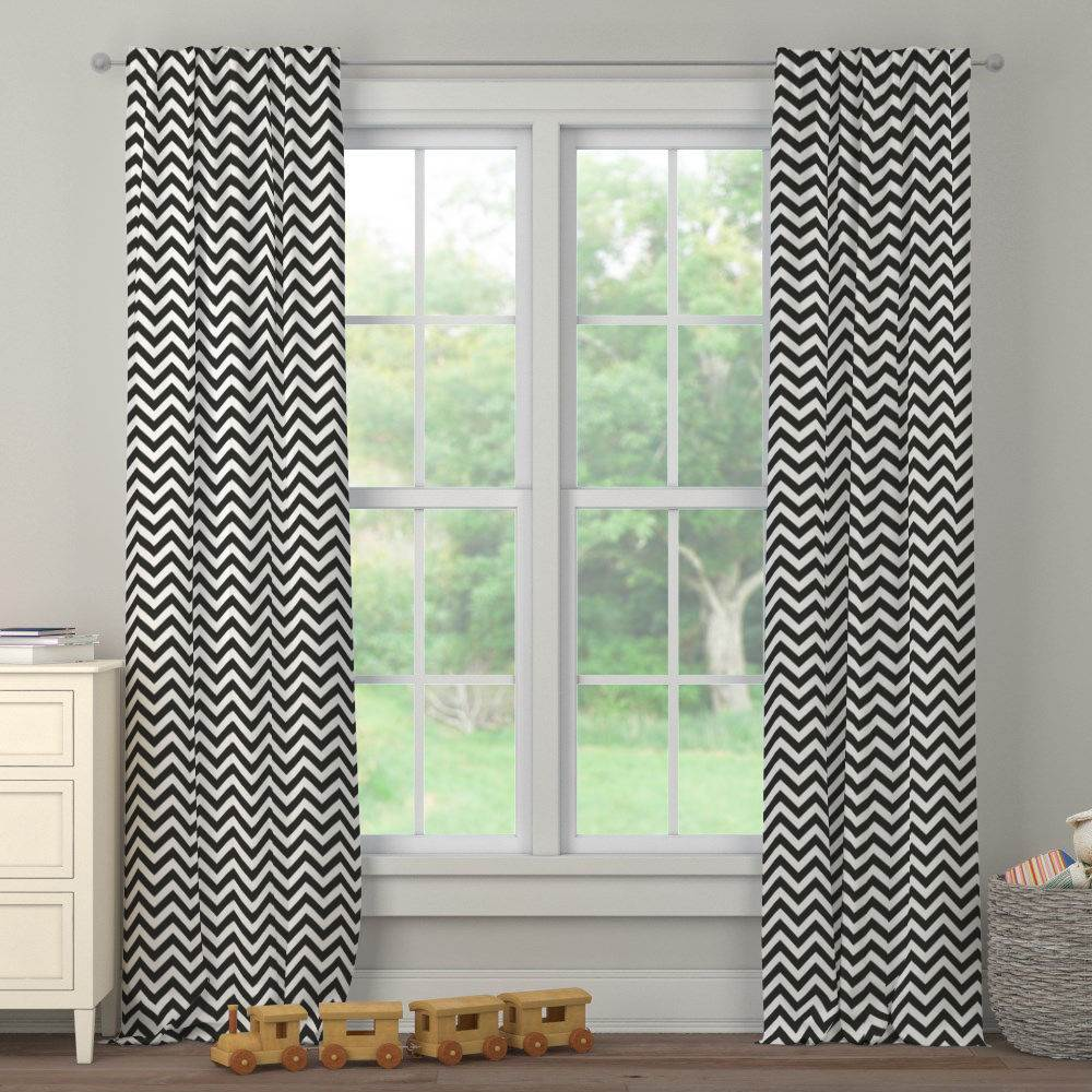 Product image for Black and White Zig Zag Drape Panel