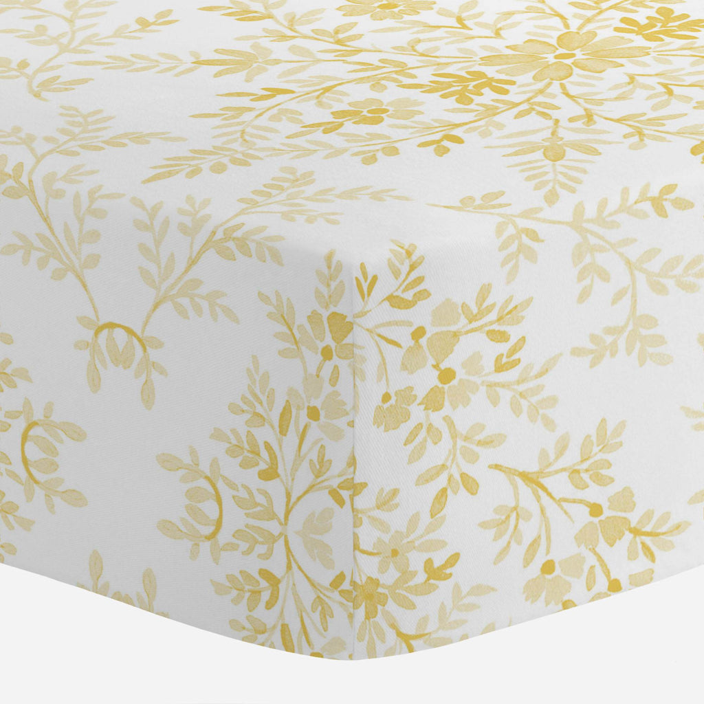Product image for Yellow Floral Damask Crib Sheet
