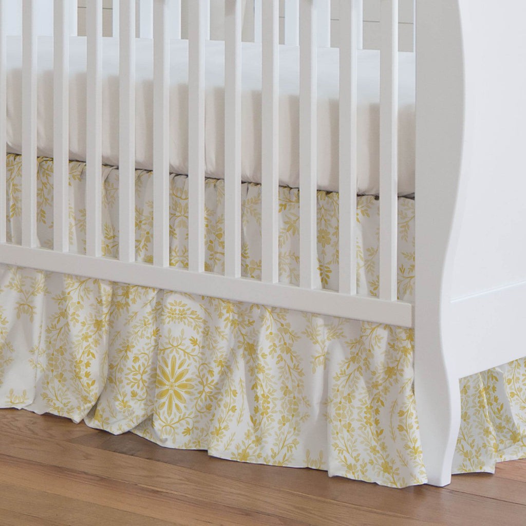 Product image for Yellow Floral Damask Crib Skirt Gathered