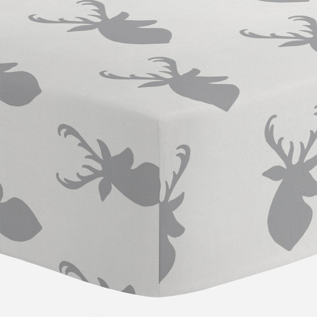 Product image for Silver Gray Deer Head Crib Sheet