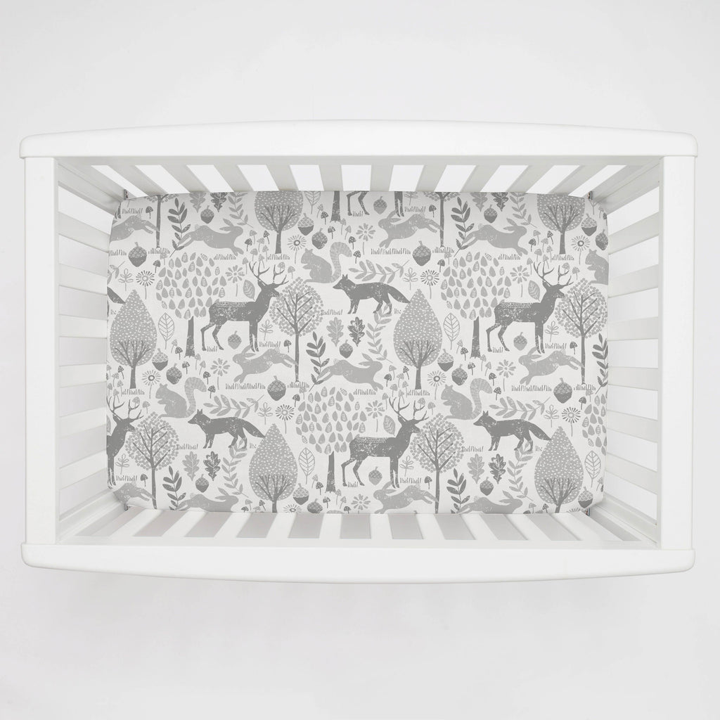 Product image for Gray Woodland Animals Mini Crib Sheet