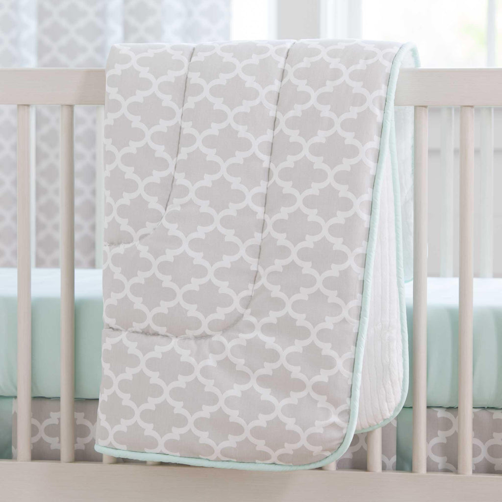 Product image for French Gray Quatrefoil Crib Comforter with Piping