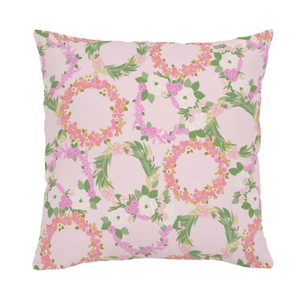 Product image for Pink and Coral Floral Wreath Throw Pillow