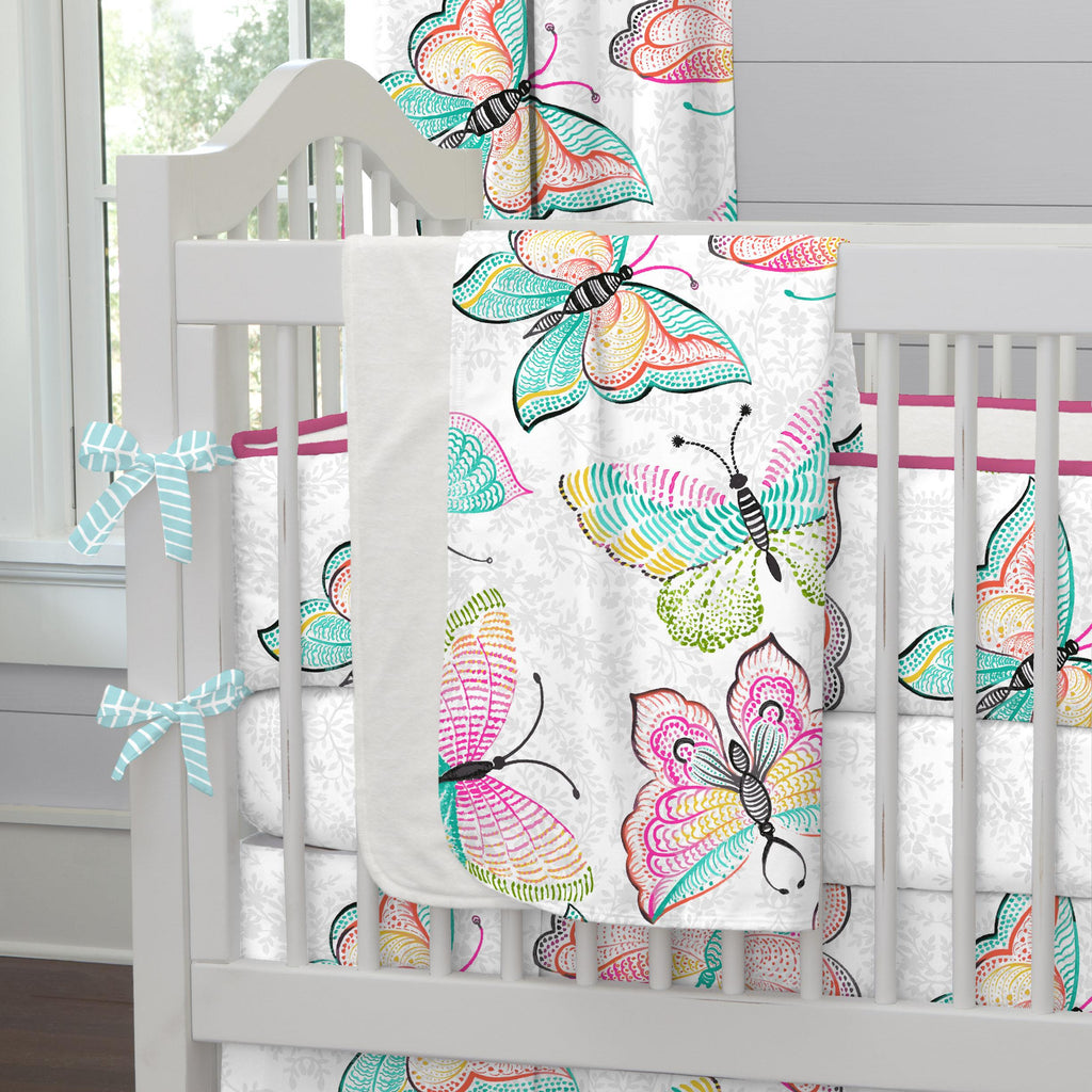 Product image for Bright Damask Butterflies Baby Blanket