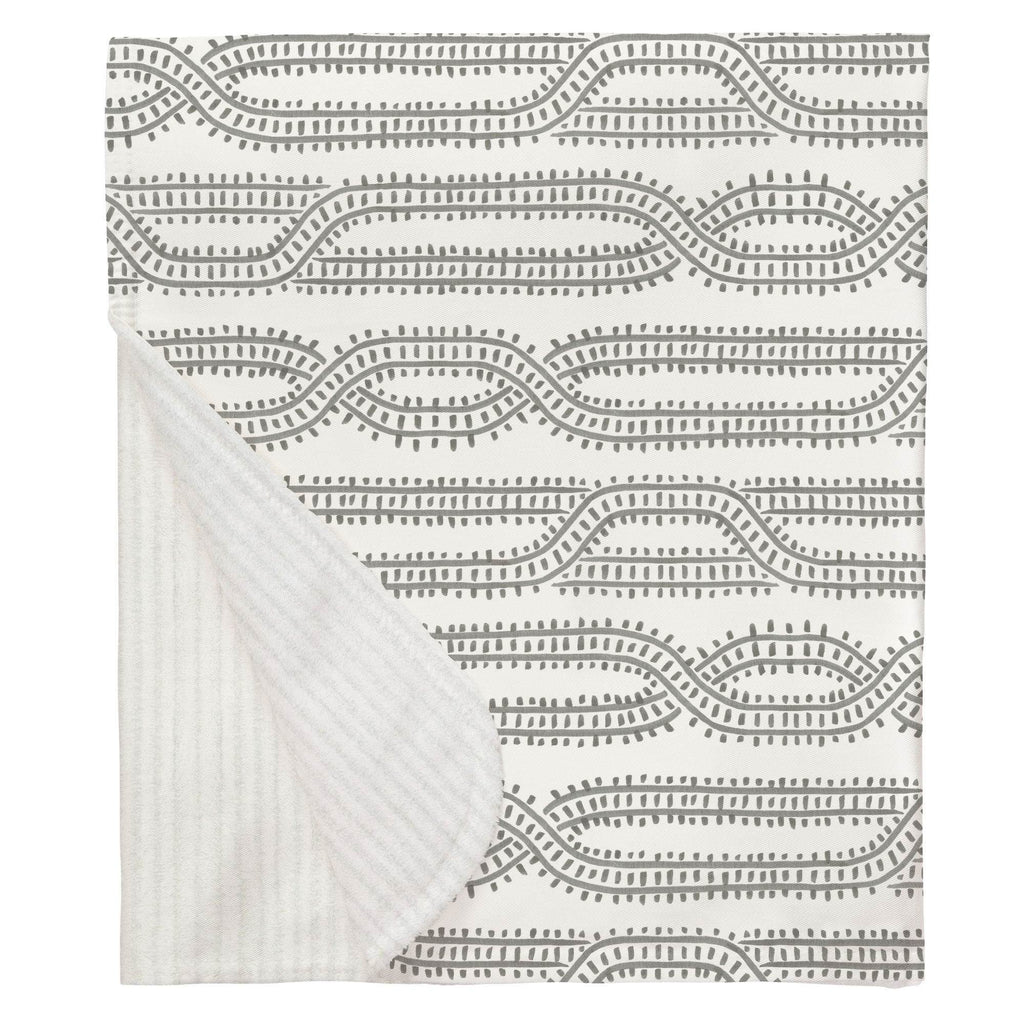 Product image for Gray Train Tracks Baby Blanket