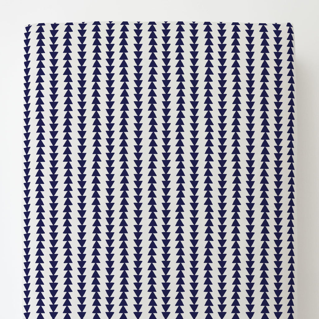 Product image for Windsor Navy Arrow Stripe Toddler Sheet Bottom Fitted