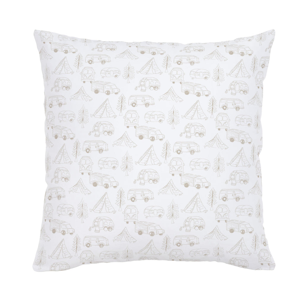 Product image for Taupe Little Campers Throw Pillow