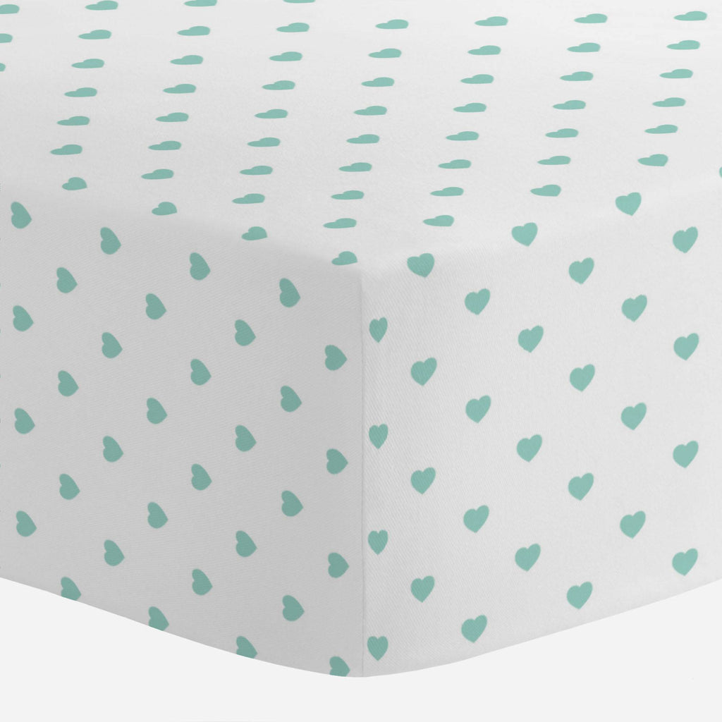 Product image for Mint Hearts Crib Sheet
