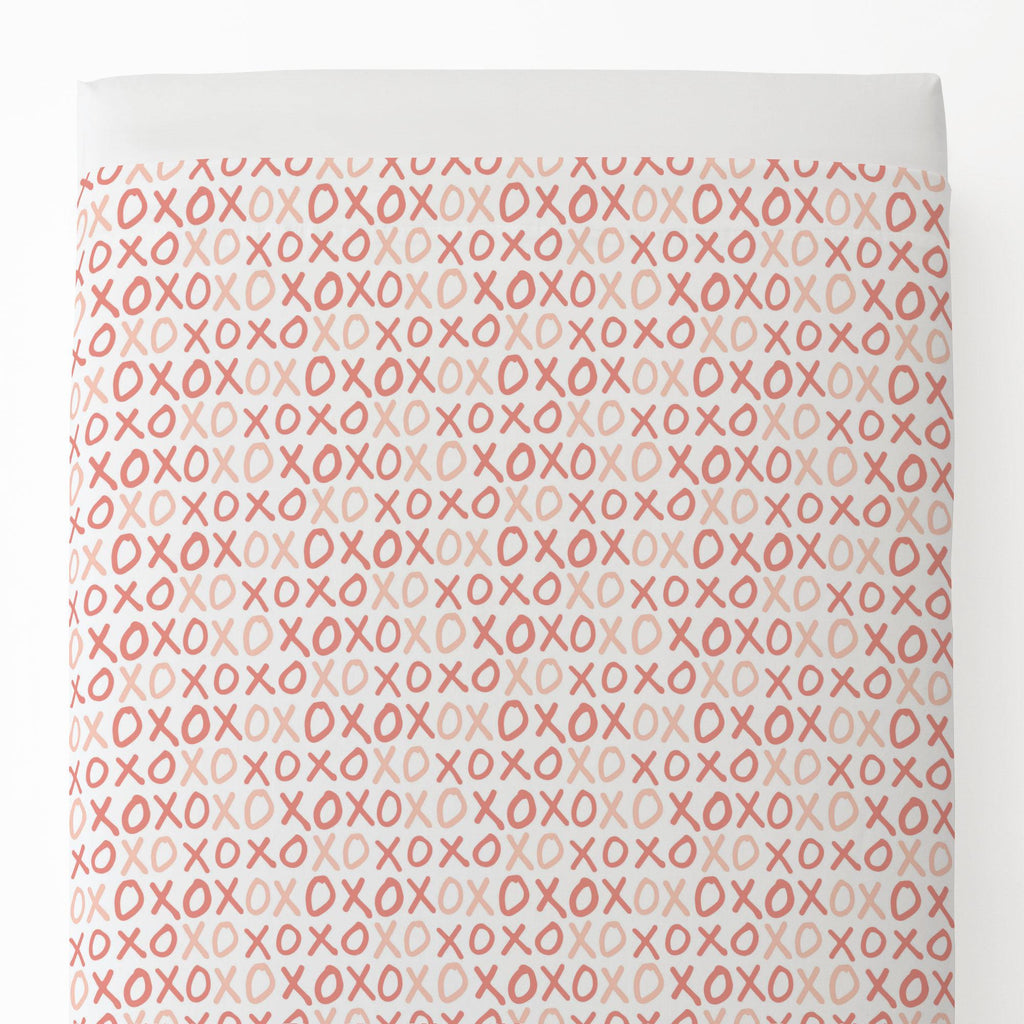 Product image for Light Coral and Peach XO Toddler Sheet Top Flat