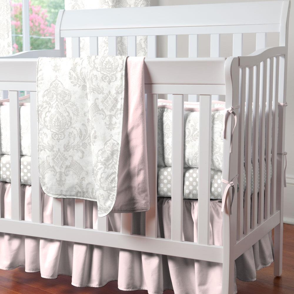Product image for French Gray Painted Damask Mini Crib Bumper
