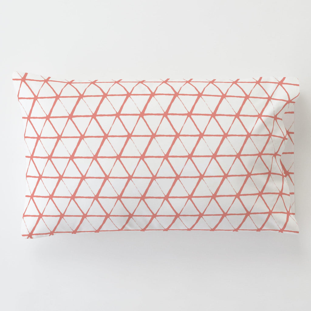 Product image for White and Light Coral Aztec Triangles Toddler Pillow Case with Pillow Insert