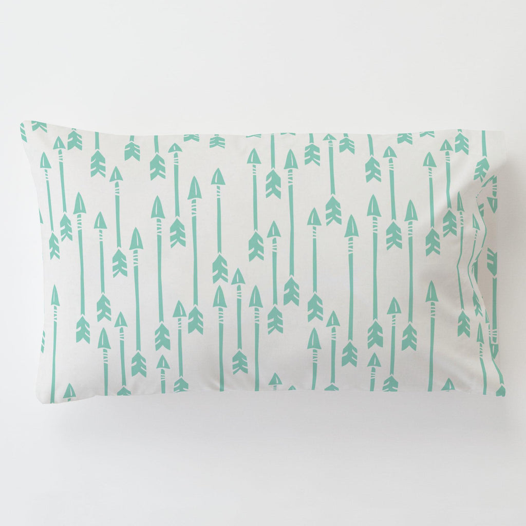 Product image for Mint Flying Arrow Toddler Pillow Case with Pillow Insert