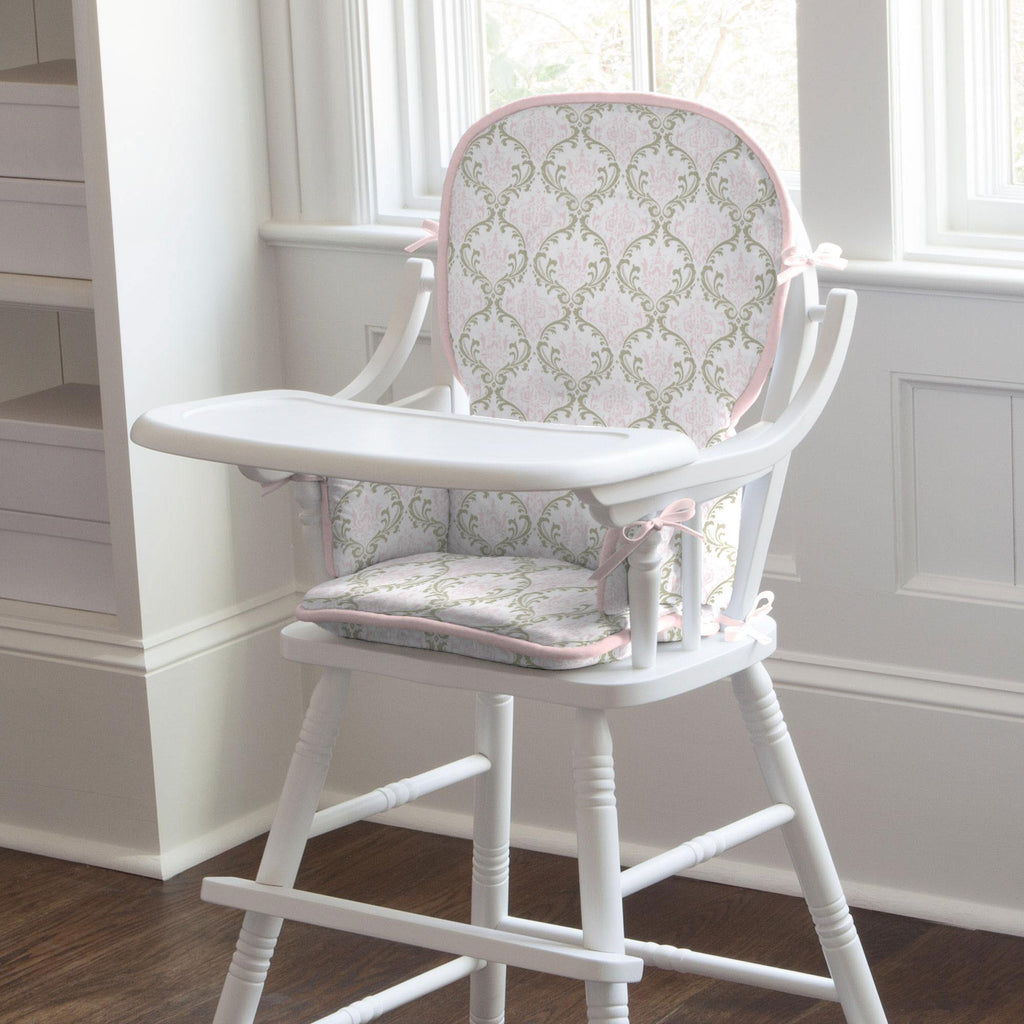Product image for Pink and Taupe Damask High Chair Pad