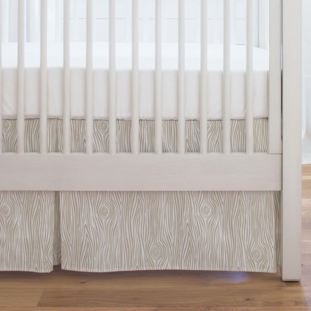 Product image for Taupe Woodgrain Crib Skirt Single-Pleat
