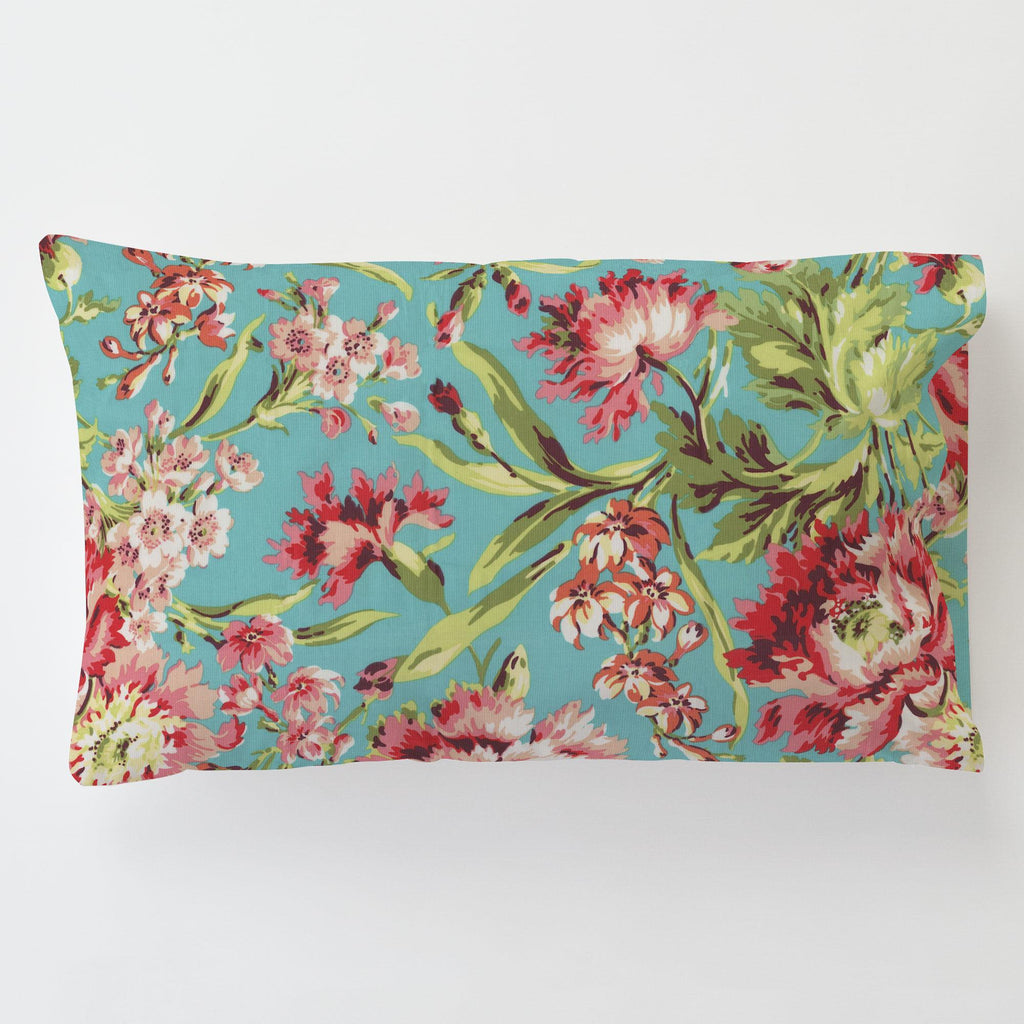 Product image for Coral and Teal Floral Toddler Pillow Case with Pillow Insert