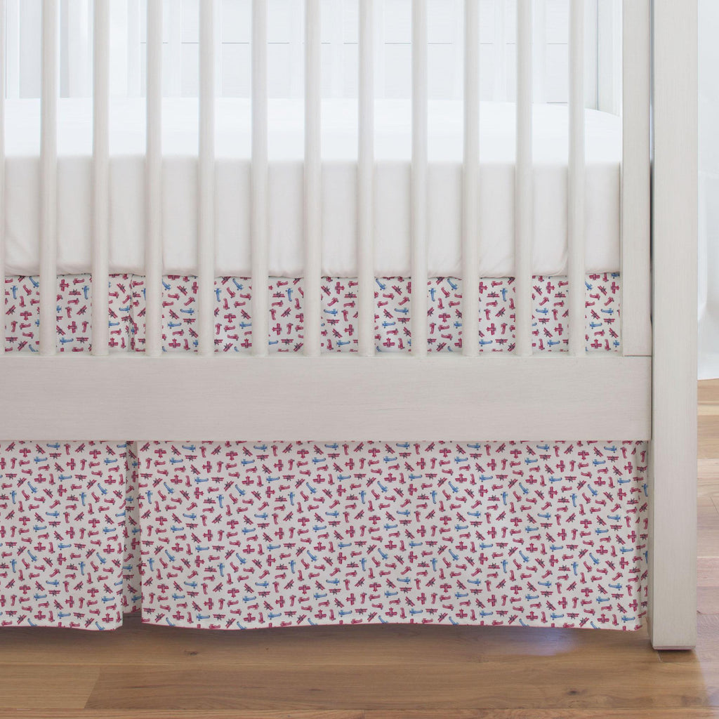 Product image for Tiny Airplanes Crib Skirt Single-Pleat