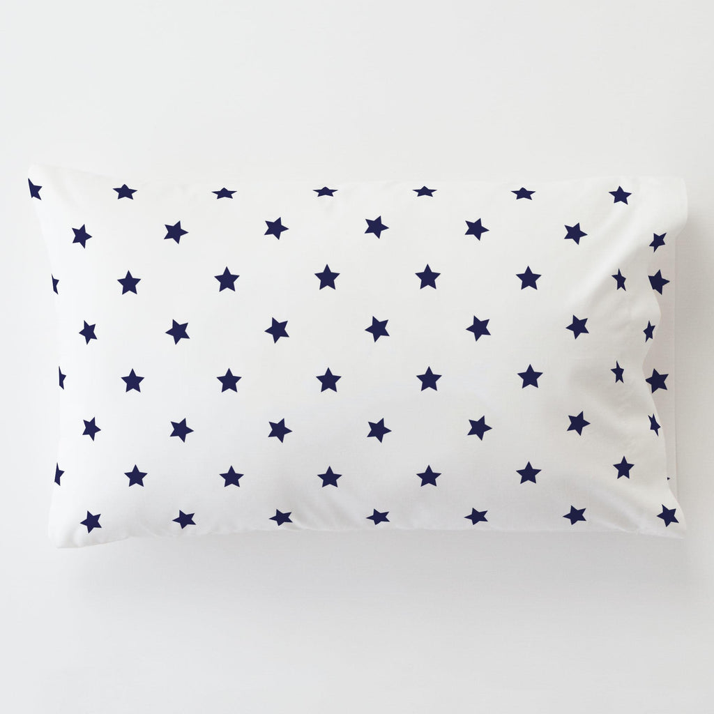 Product image for Navy Stars Toddler Pillow Case with Pillow Insert