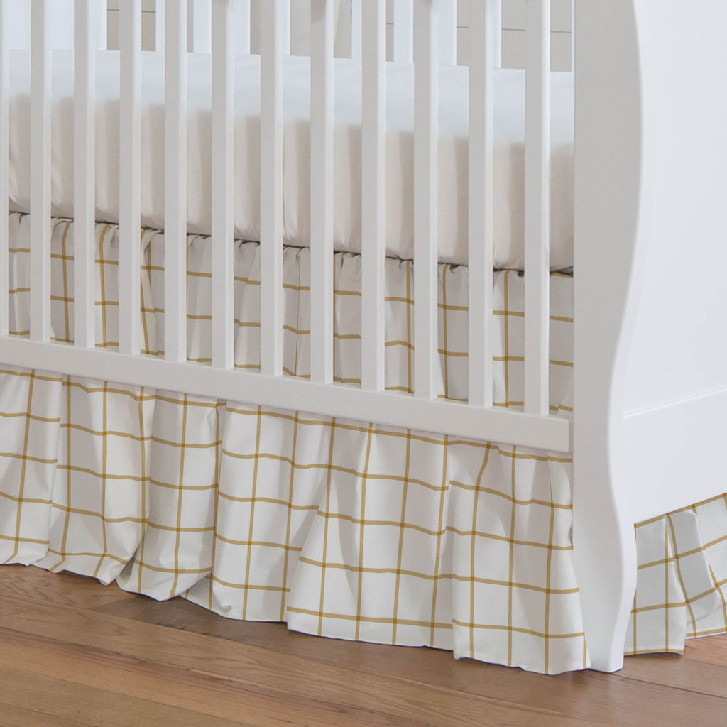 Product image for Mustard Windowpane Crib Skirt Gathered