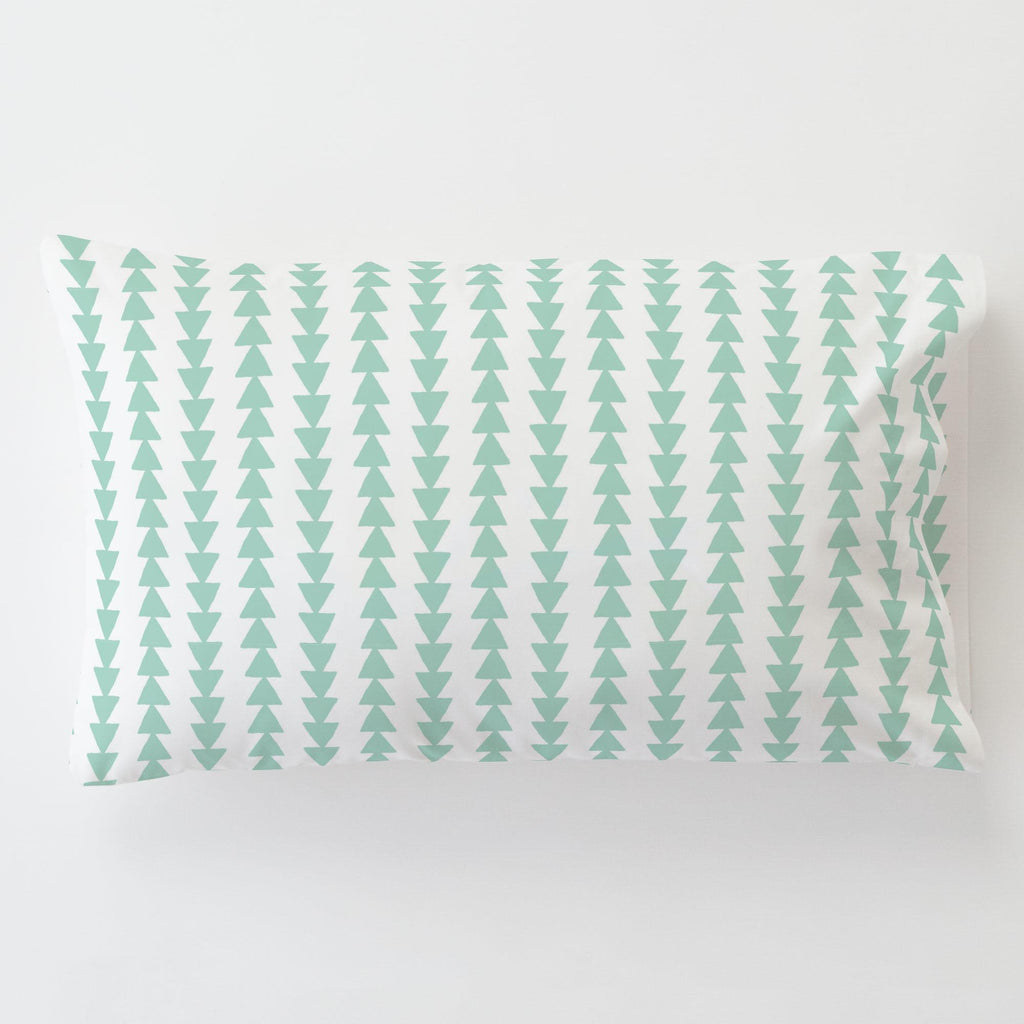 Product image for Mint Arrow Stripe Toddler Pillow Case with Pillow Insert