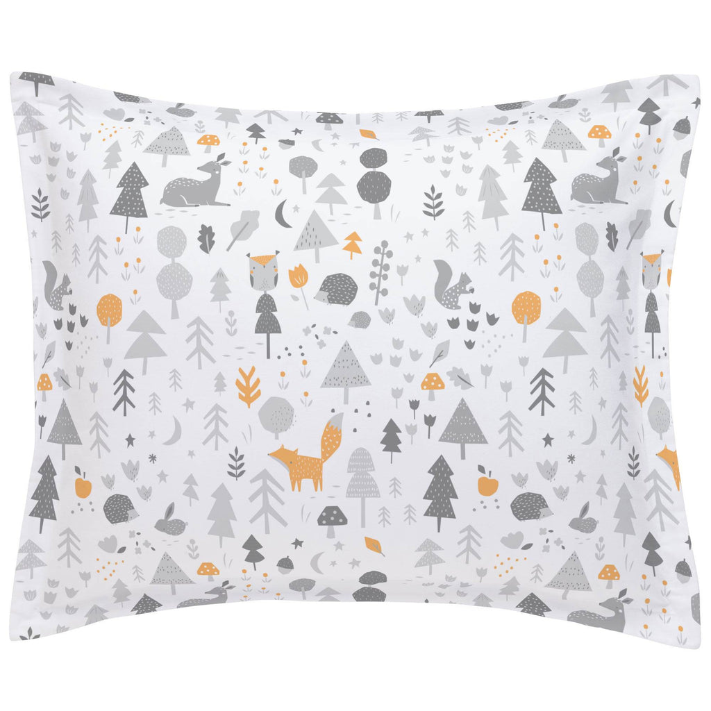 Product image for Light Orange and Silver Gray Baby Woodland Pillow Sham