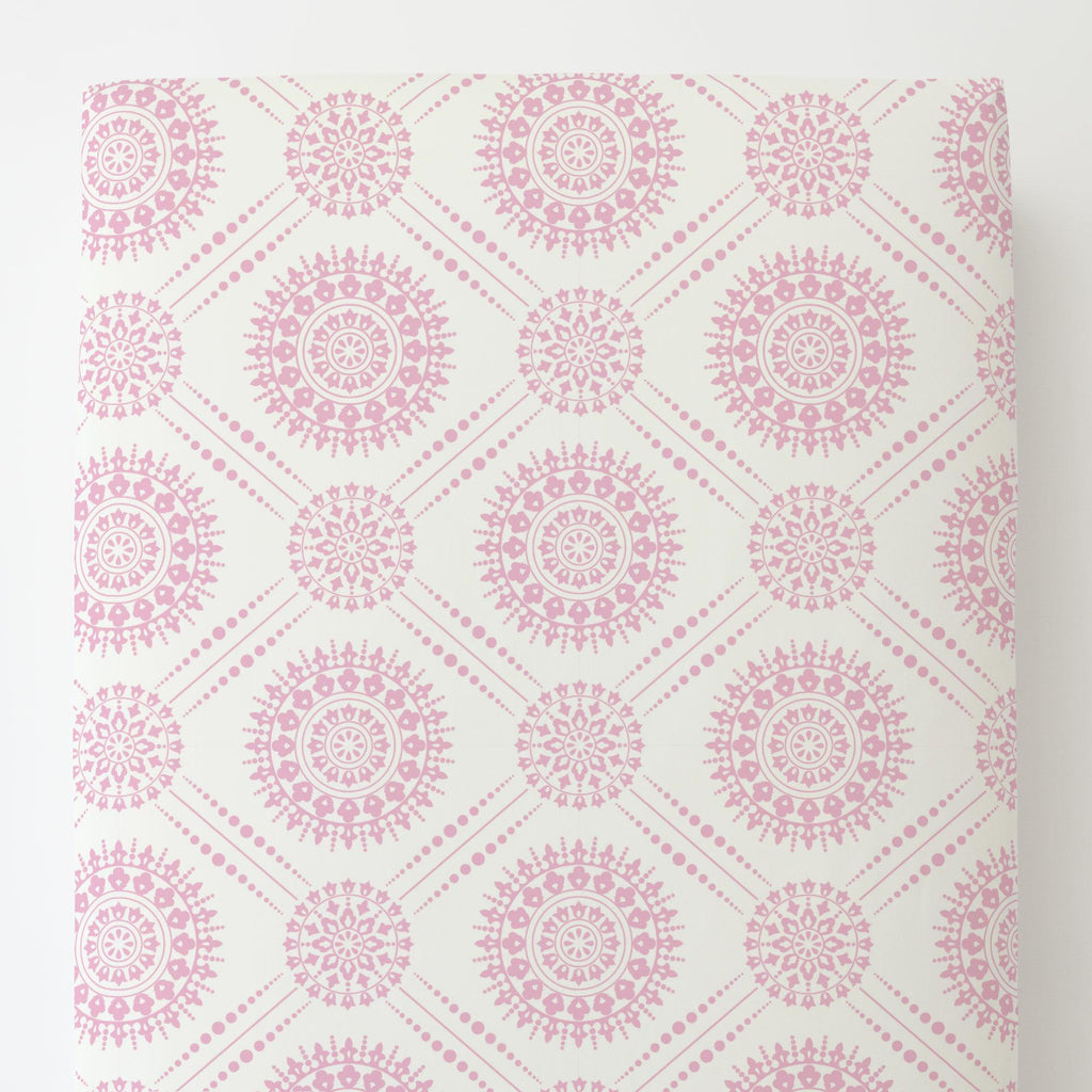Product image for Bubblegum Pink Modern Medallion Toddler Sheet Bottom Fitted