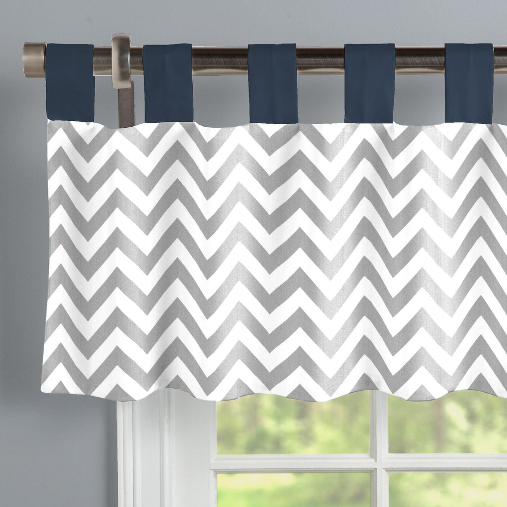 Product image for Navy and Gray Zig Zag Window Valance Tab-Top