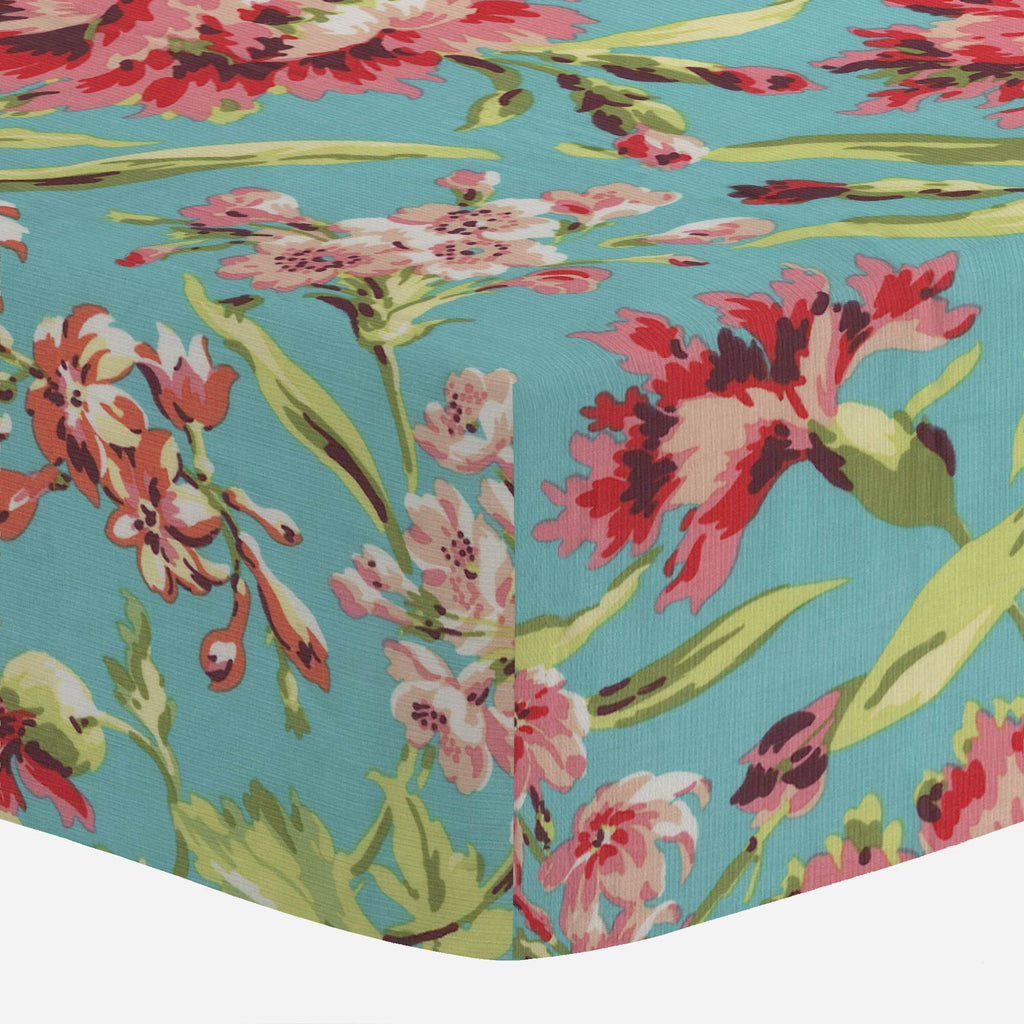 Product image for Coral and Teal Floral Crib Sheet