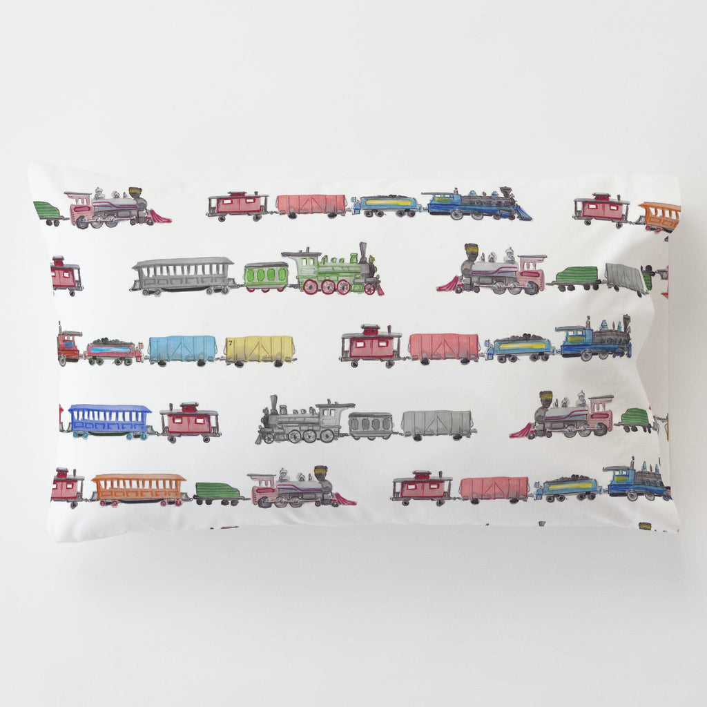 Product image for Watercolor Trains Toddler Pillow Case with Pillow Insert