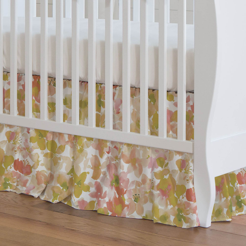 Product image for Peach and Sage Floral Crib Skirt Gathered