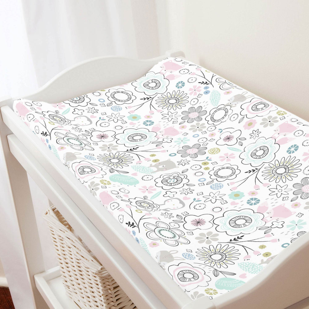 Product image for Pink Spring Doodles Changing Pad Cover