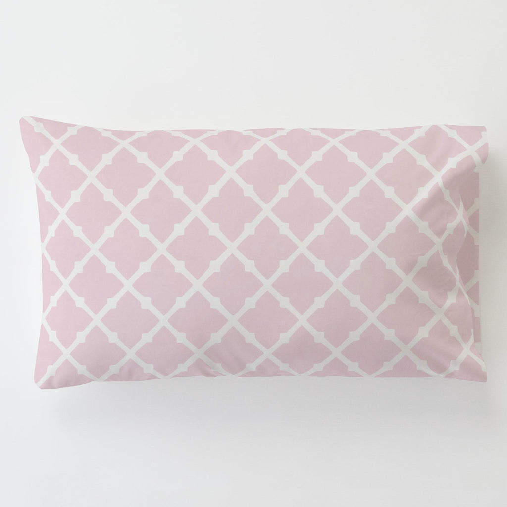 Product image for Pink Lattice Toddler Pillow Case with Pillow Insert