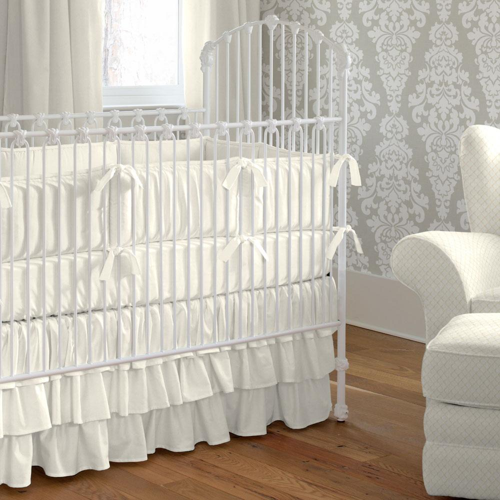 Product image for Solid Ivory Crib Skirt 3-Tiered