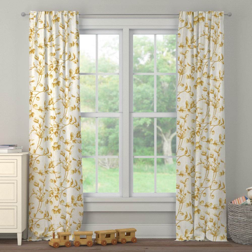Product image for Mustard Yellow Eucalyptus Drape Panel