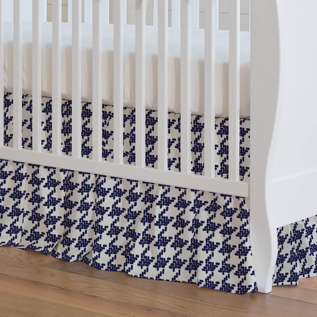 Product image for Windsor Navy Modern Houndstooth Crib Skirt Gathered