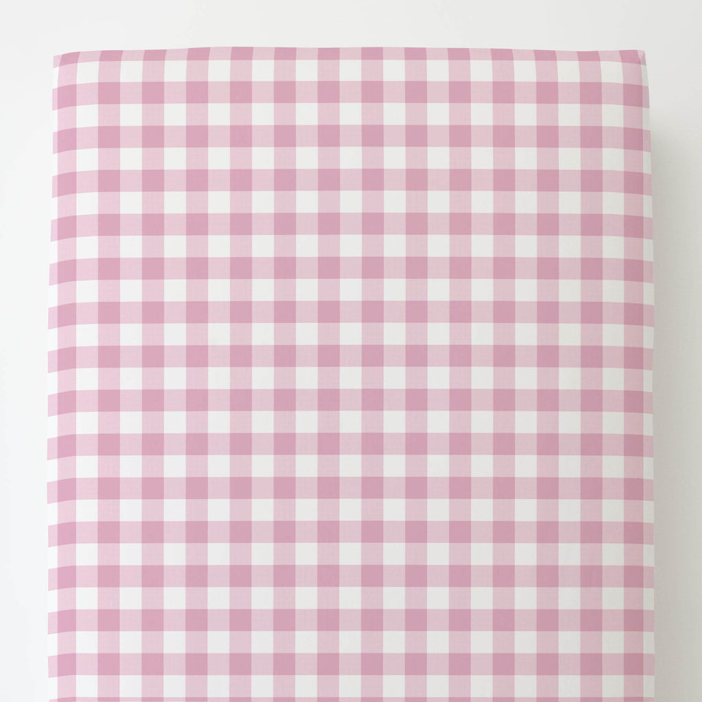 Product image for Bubblegum Gingham Toddler Sheet Bottom Fitted