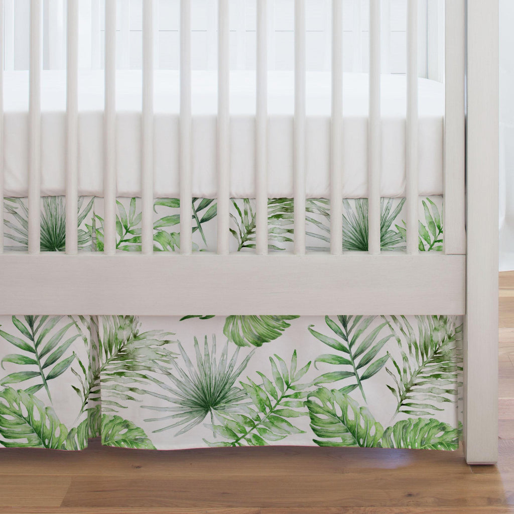 Product image for Green Painted Tropical Crib Skirt Single-Pleat