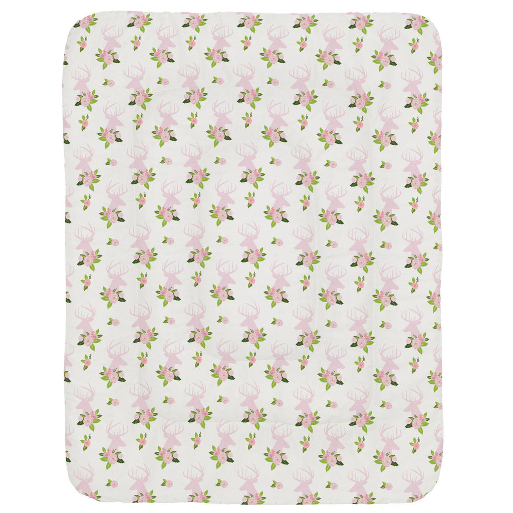 Product image for Pink Floral Deer Head Crib Comforter