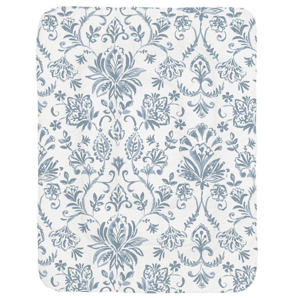 Product image for Steel Blue Coastal Damask Crib Comforter
