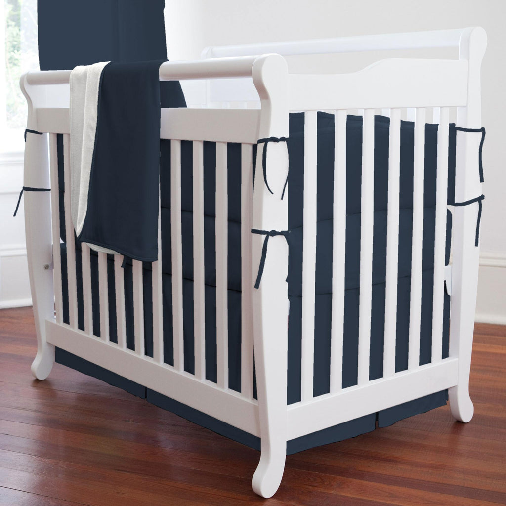 Product image for Solid Navy Mini Crib Skirt