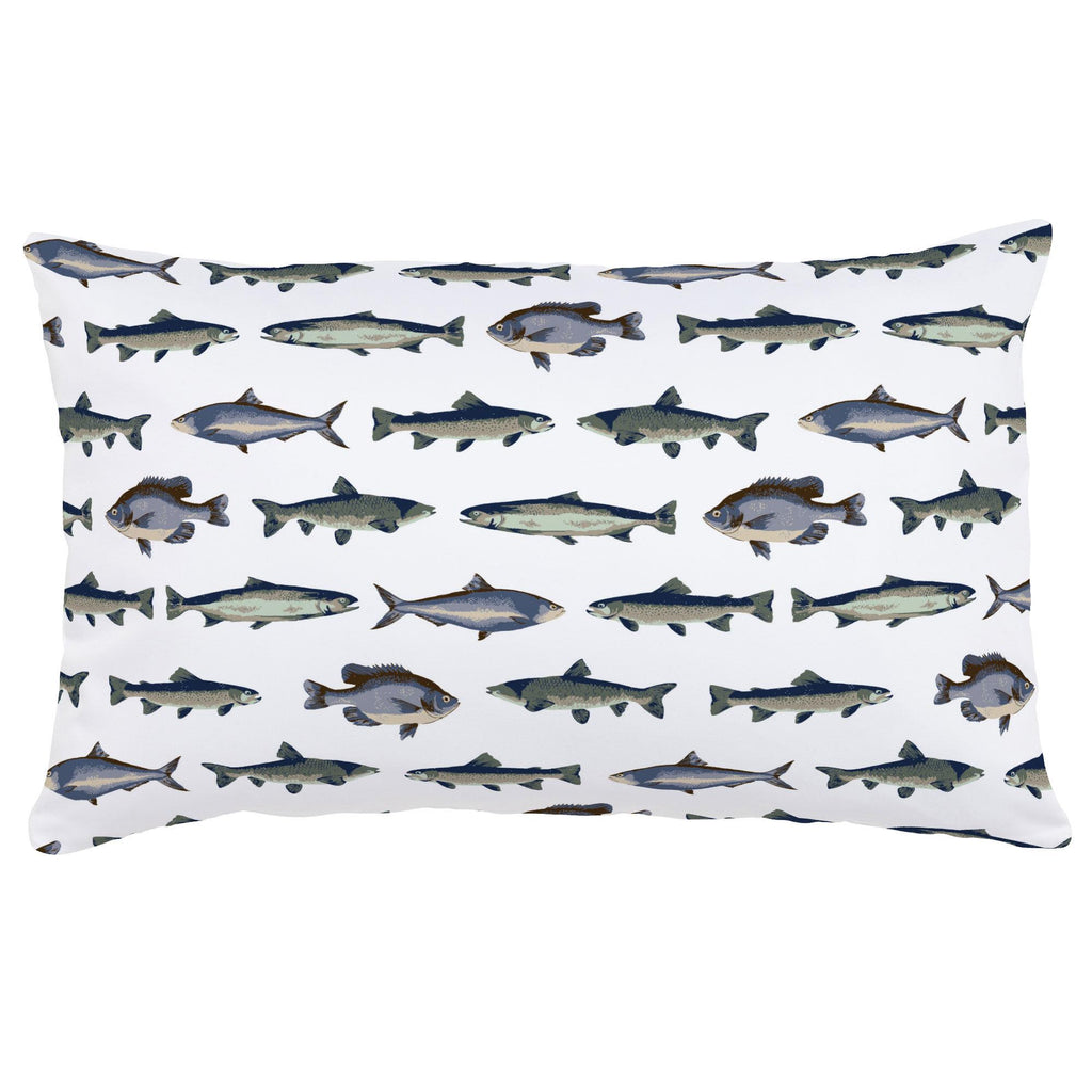 Product image for Navy and Seafoam Fish Lumbar Pillow