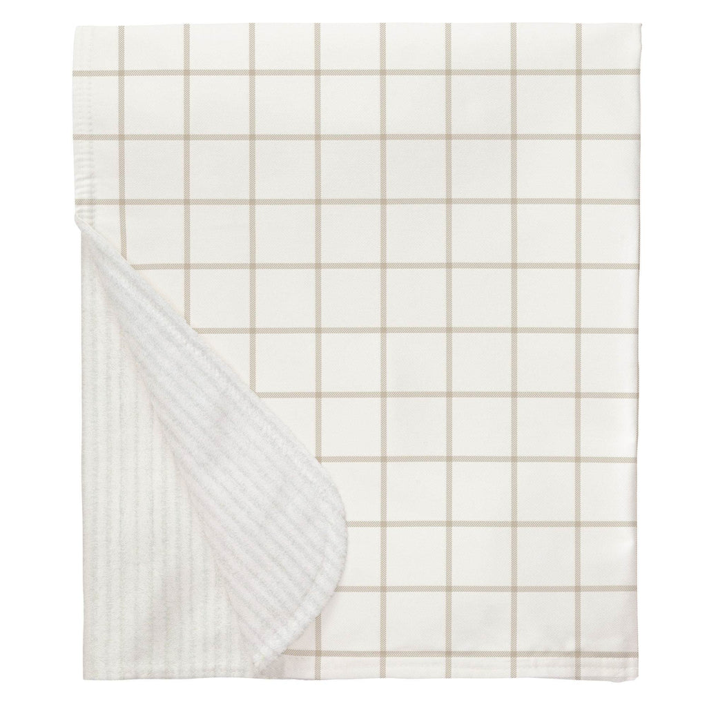 Product image for Taupe Windowpane Baby Blanket