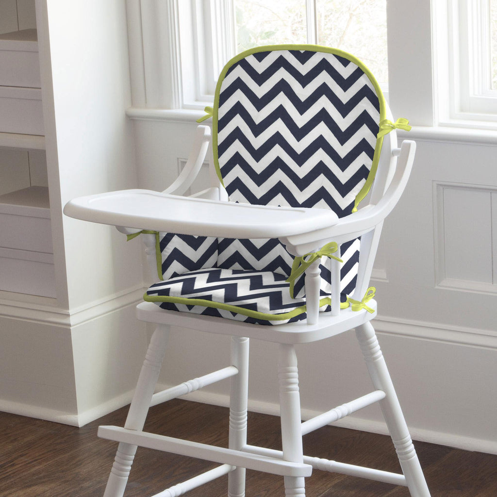 Product image for White and Navy Zig Zag High Chair Pad