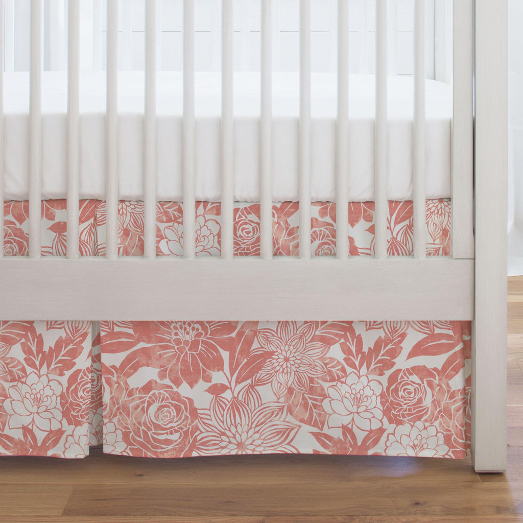Product image for Light Coral Modern Blooms Crib Skirt Single-Pleat